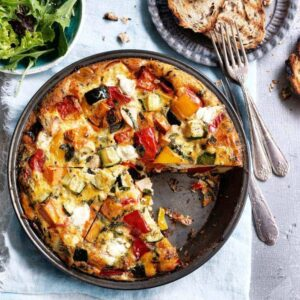 Vegetable and goat's cheese crustless quiche