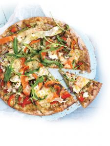 Vegetable and pesto pizza