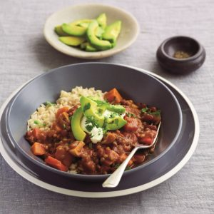 Vegetable, lentil and bean mole