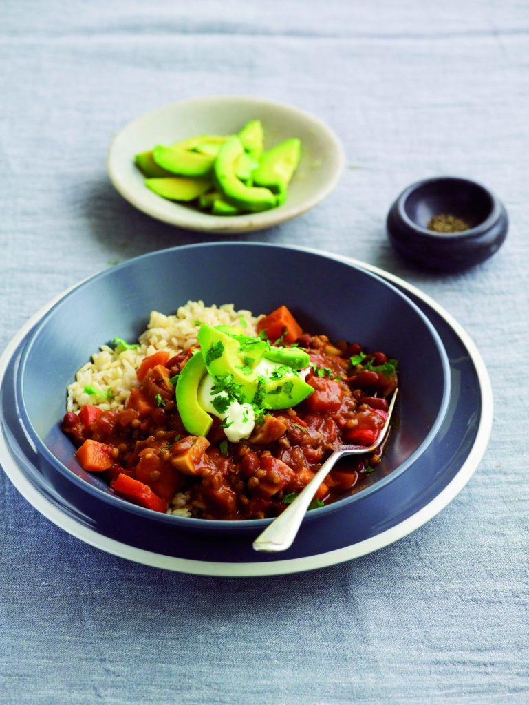 Vegetable, lentil and bean mole