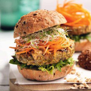 Vegetarian satay burgers