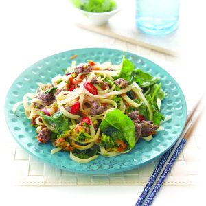 Venison and vege spicy noodles