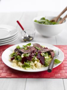Venison, beetroot and mint salad