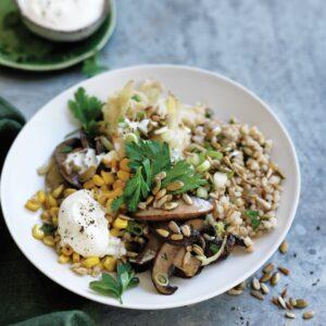 Warm fennel, mushroom and barley salad