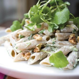 Watercress and walnut pasta