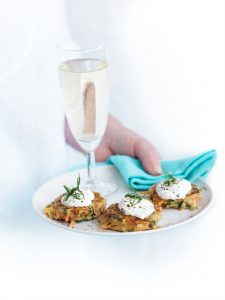 White bean, carrot and mint fritters with yoghurt dressing