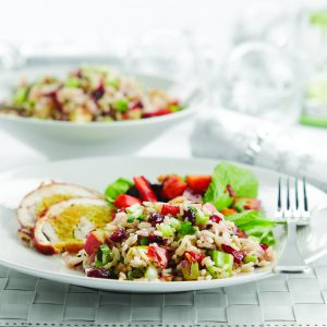 Wild rice salad with cranberries and balsamic dressing
