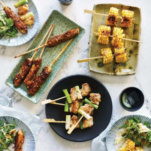 Yakitori skewers with seasonal salad