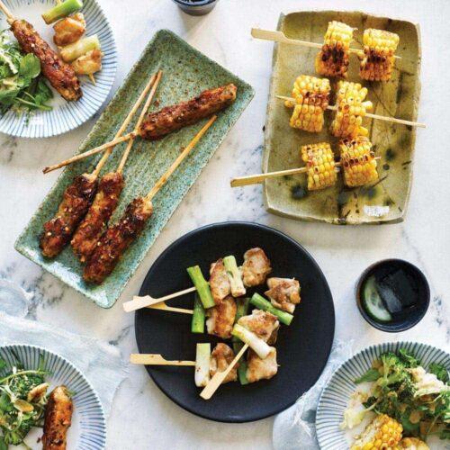 Yakitori skewers with seasonal salad