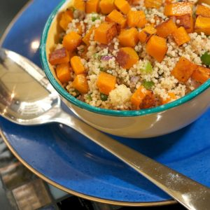 Zesty couscous or quinoa salad with roasted pumpkin and cashews