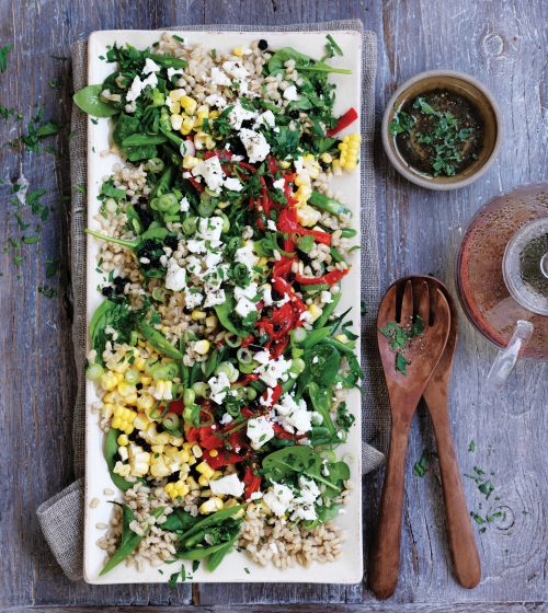Barley salad with sweetcorn, roasted capsicum and feta