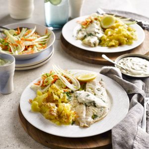 Fish with homemade tartare sauce, fennel slaw and crispy crushed potatoes