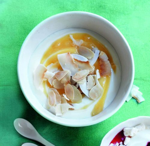 Lemon and coconut swirl yoghurt pots