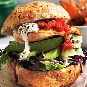 Mexican chicken burgers with golden kumara wedges
