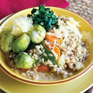 Pearl barley autumn vegetable risotto