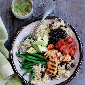 Quinoa bowl with grilled chicken, black beans and avocado