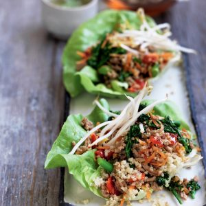 Spicy pork and quinoa lettuce cups