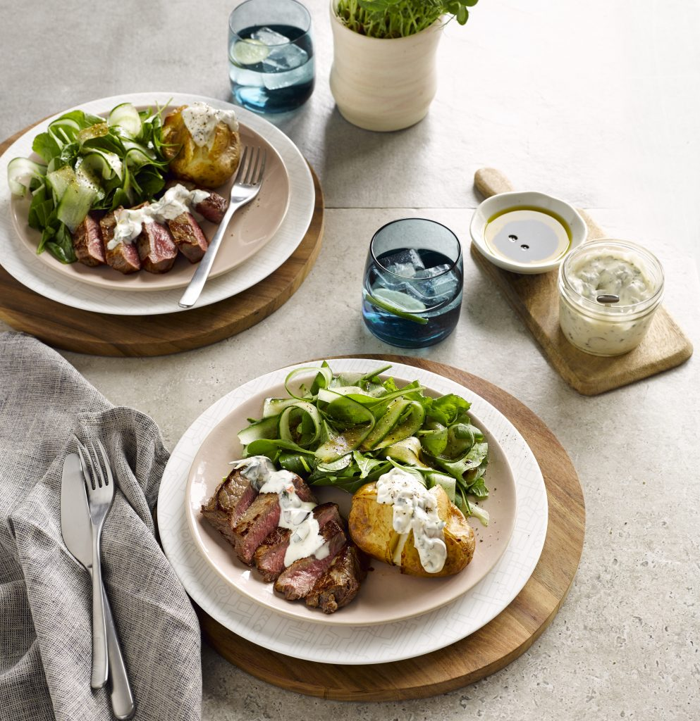 Steak with olive and caper mayo