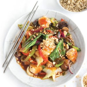 Sweet and sour chicken with chia rice