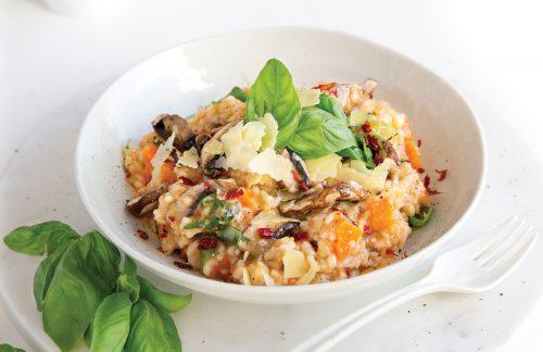 Tomato and mushroom risotto
