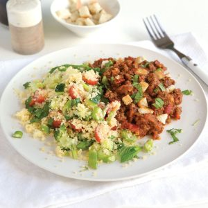 Turkish mince and tabbouleh