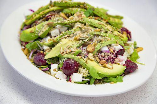 Beetroot, seeds and avocado quinoa salad