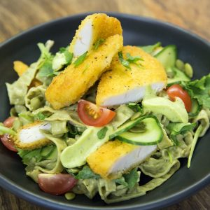 Chicken tenders, salad and edamame and mung bean fettuccine