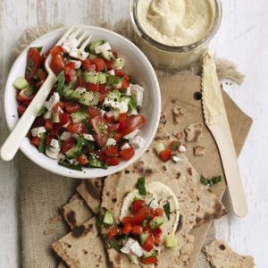 Chicken, tomato and cucumber salad with hummus