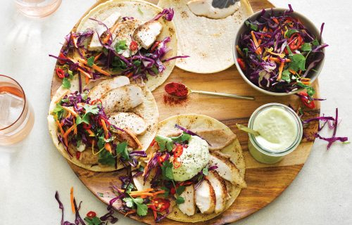 Chicken tortilla with Mexi slaw and avocado cucumber yoghurt