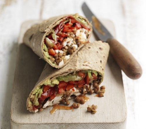 Chilli chicken, lentil and avocado wrap