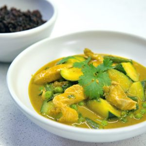 Chicken satay curry with brown rice
