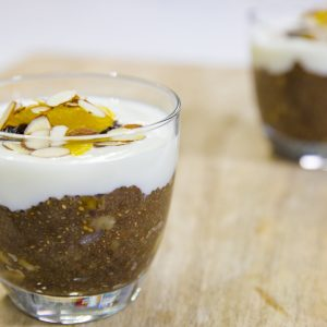 Coffee, banana and almond milk chia pot dessert