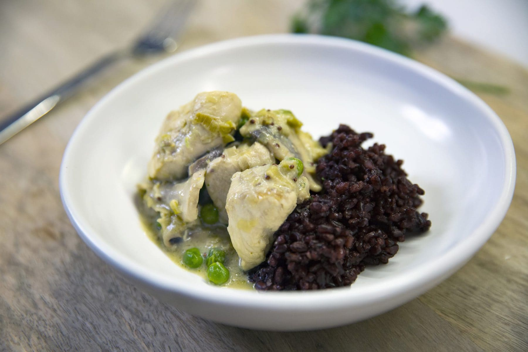 Creamy mustard and leek chicken with black rice