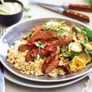 Curried veges with grilled steak and coconut rice