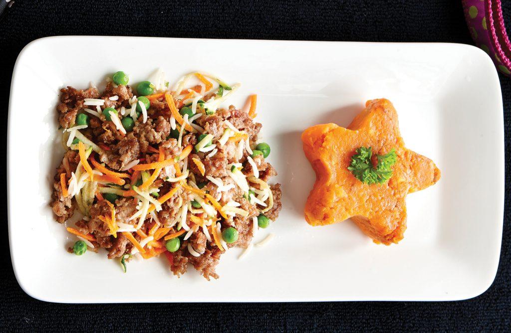 Doggy stir-fry with kumara mash