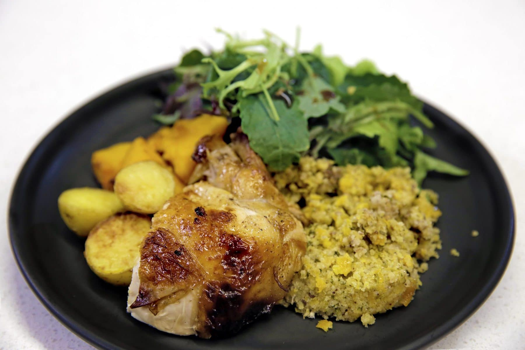 Glazed chicken with apricot and kaffir lime stuffing PLATED