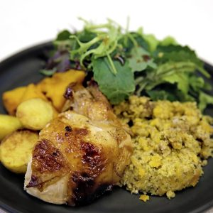 Glazed chicken with apricot and kaffir lime stuffing
