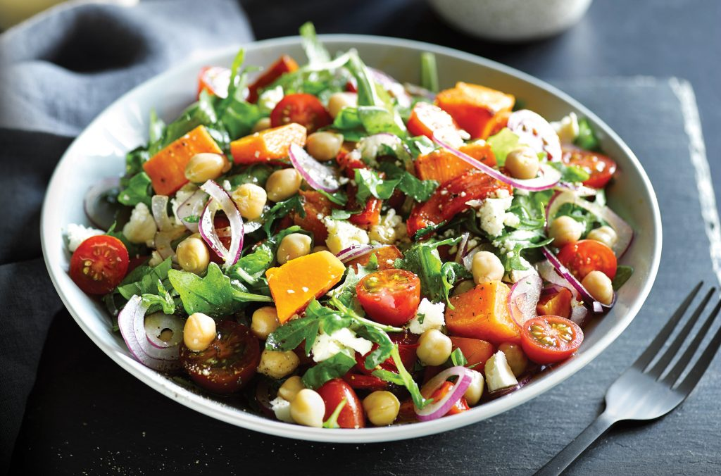Herbed chickpea and roast vege salad