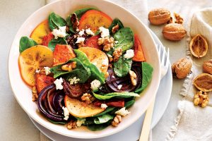Honey-roasted pumpkin and persimmon salad