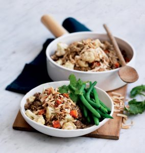 Lamb and cauliflower brown rice pilaf