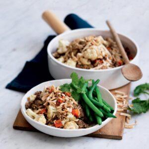 Lamb and cauliflower brown rice pilaf