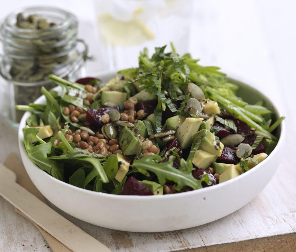 Lentil, beetroot, mint and green bean salad