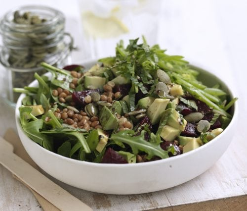 Lentil, beetroot, mint and green bean salad