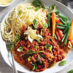 Low-FODMAP spaghetti bolognese