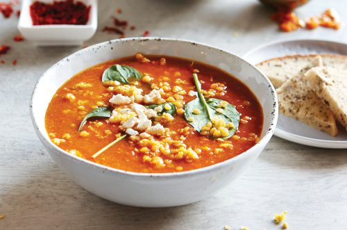 Low-FODMAP spicy lentil soup