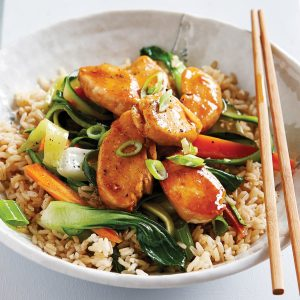 Low-FODMAP teriyaki chicken stir-fry