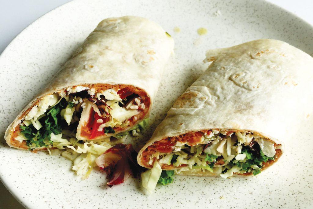 Nutty salad and feta wrap