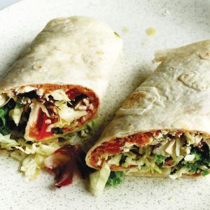 Nutty salad and feta wrap