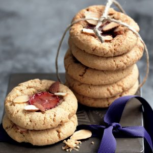 Strawberry and almond biscuits