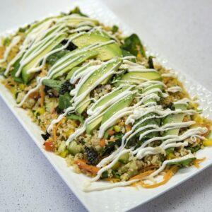 Sushi and avocado salad with garlic mayonnaise